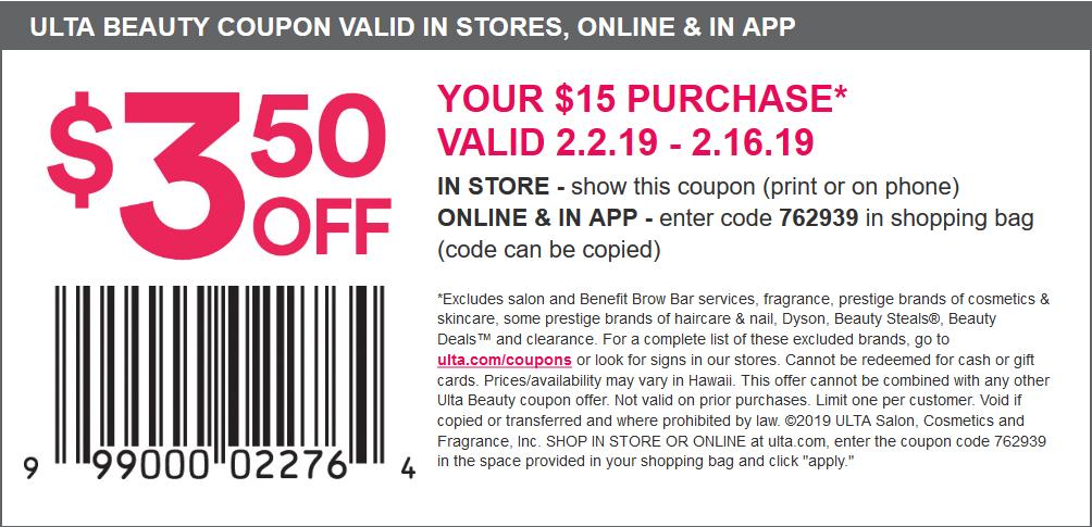 Ulta.com Promo Coupon $3.50 off $15 at Ulta Beauty, or online via promo code 762939