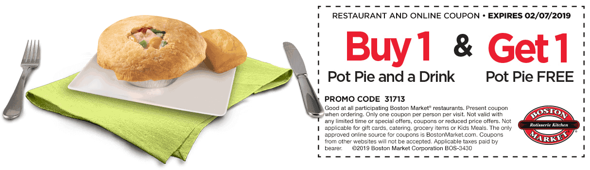 Boston Market Coupon May 2019 Second pot pie free at Boston Market