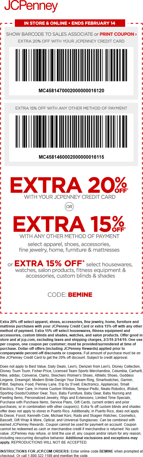 JCPenney Coupon May 2019 15% off at JCPenney, or online via promo code BEMINE