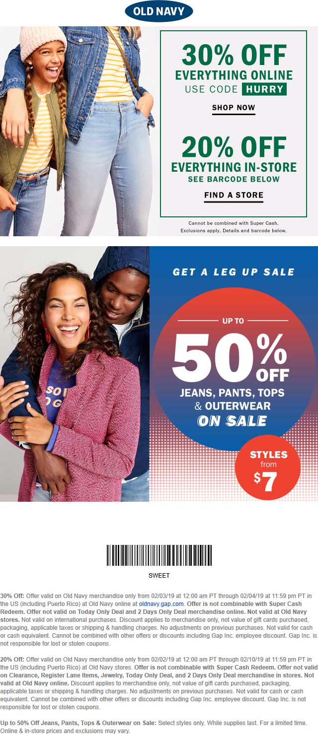 Old Navy Coupon August 2019 20% off everything at Old Navy, or 30% online via promo code HURRY