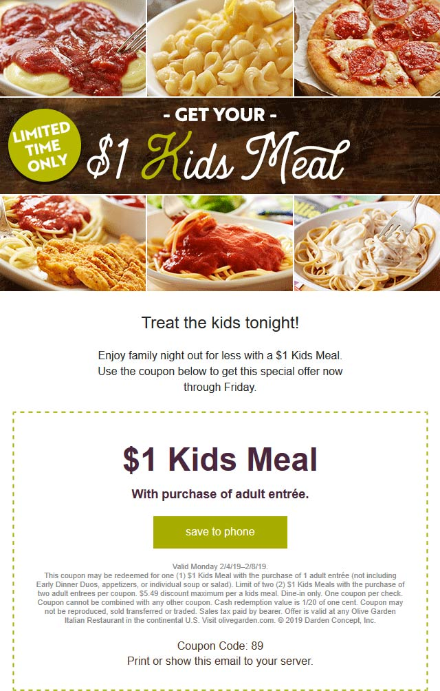 Olive Garden Coupon November 2019 $1 kids meal at Olive Garden