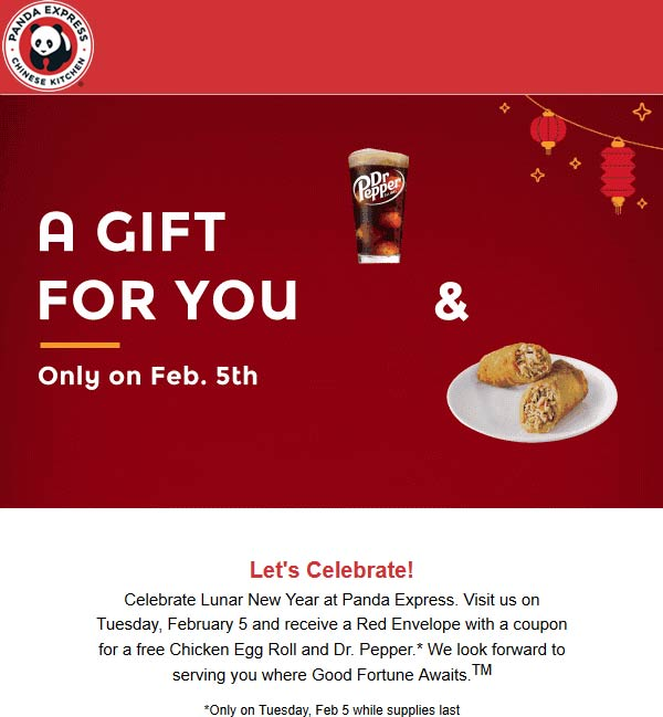 PandaExpress.com Promo Coupon Free egg roll + drink today at Panda Express