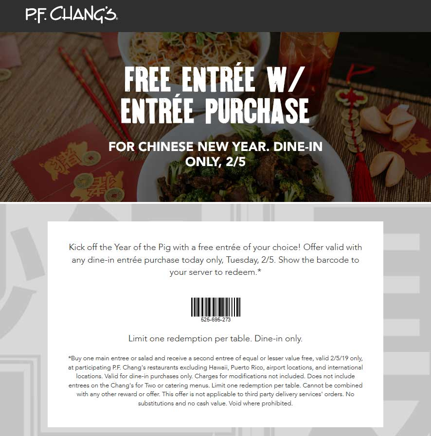 P.F. Changs Coupon September 2019 Second entree free today at P.F. Changs