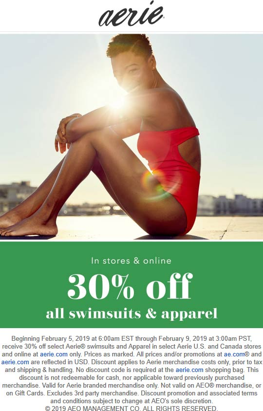 Aerie Coupon September 2019 30% off apparel & swimsuits at Aerie, ditto online