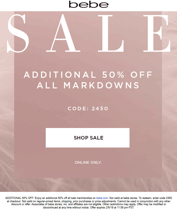 Bebe Coupon January 2020 Extra 50% off sale items online today at bebe via promo code 2450