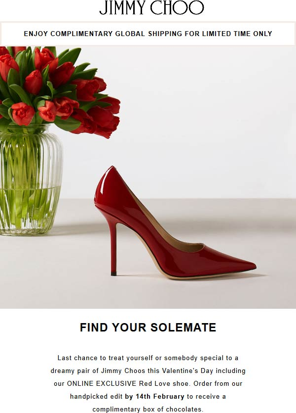 Jimmy Choo Coupon July 2019 Free box of chocolates with your Valentines shoes at Jimmy Choo