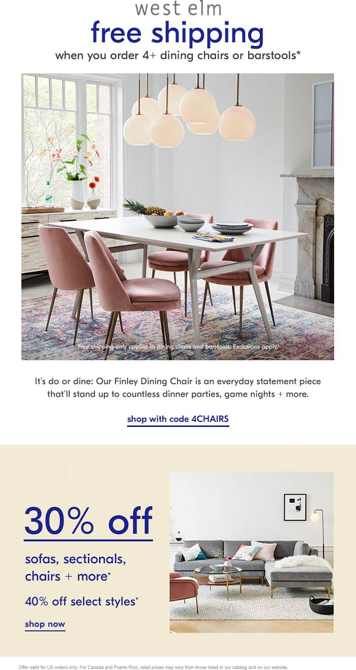 West Elm Coupon November 2019 30% off sofas & chairs at West Elm, ditto online