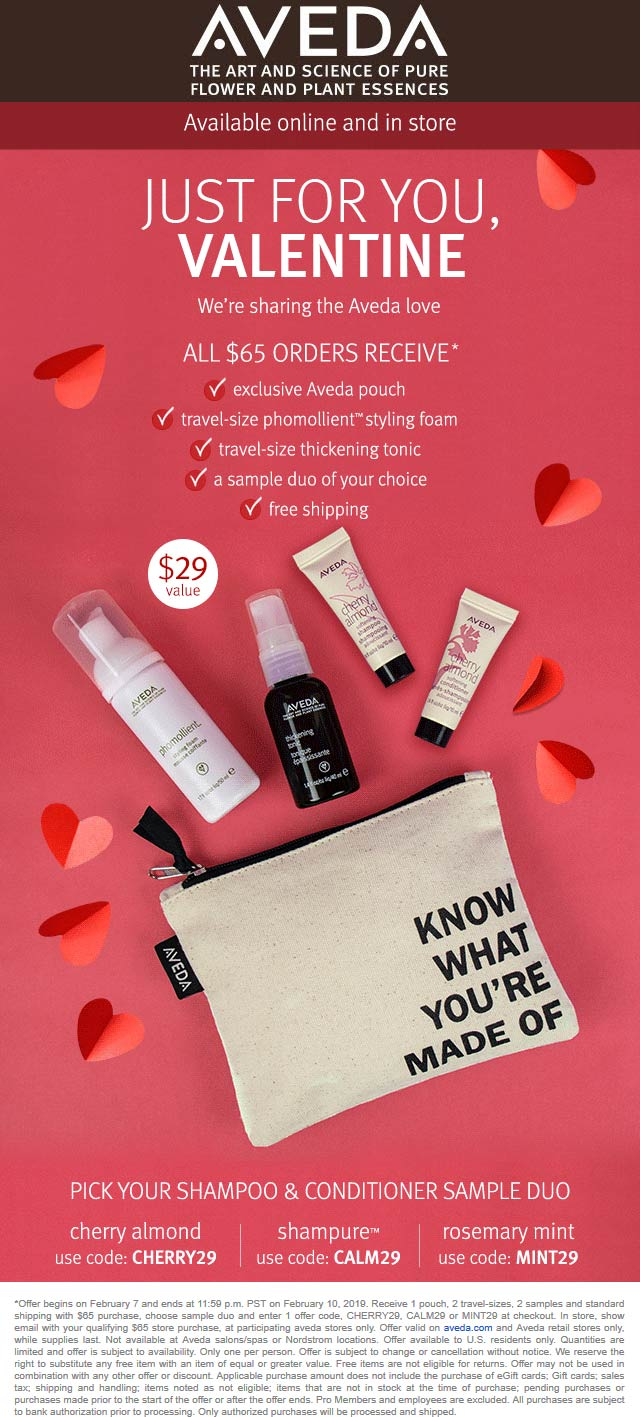 Aveda Coupon May 2019 $29 kit free with $65 spent at Aveda, or online via promo code CHERRY29