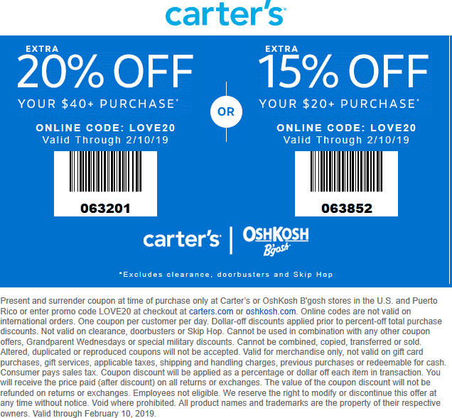 Carters Coupon January 2020 15-20% off at Carters & OshKosh Bgosh, or online via promo code LOVE20