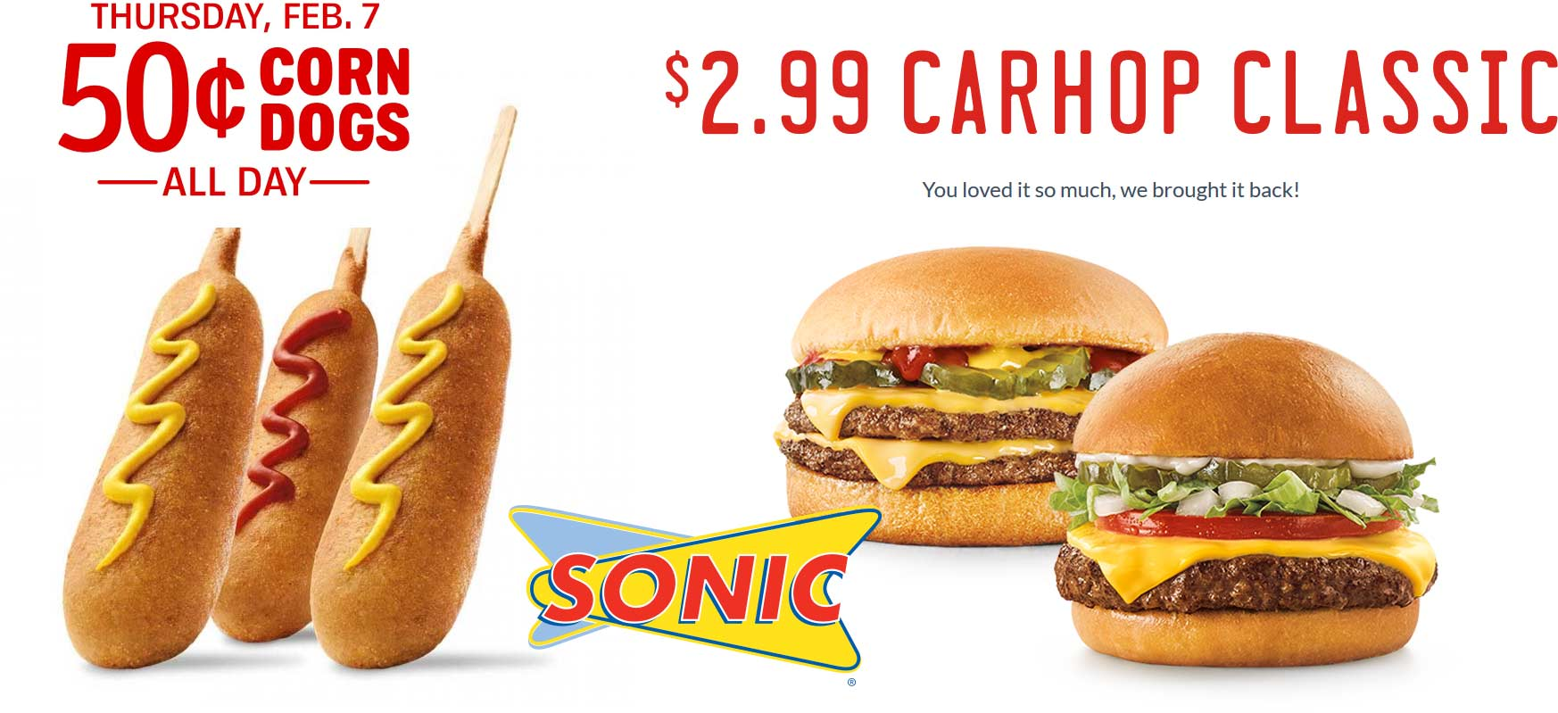 Sonic Drive-In Coupon June 2019 .50 cent corn dogs today at Sonic Drive-In restaurants
