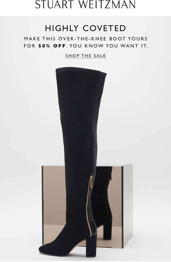 Stuart Weitzman Coupon December 2019 50% off boots at Stuart Weitzman, ditto online