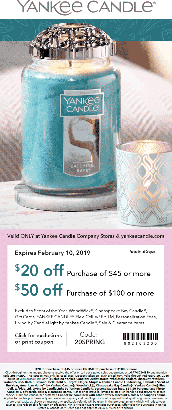 Yankee Candle Coupon October 2019 $20 off $45 & more at Yankee Candle, or online via promo code 20SPRING