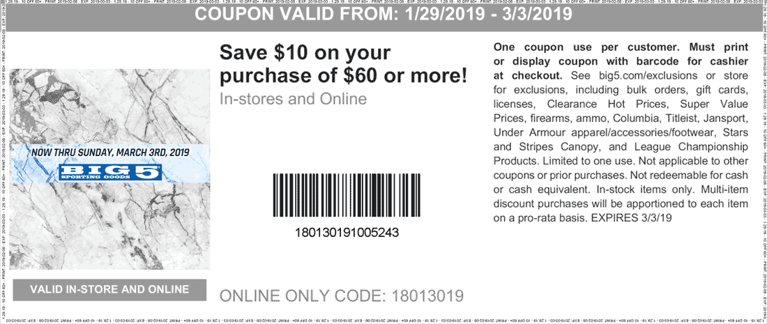 Big 5 Coupon January 2020 $10 off $60 at Big 5 sporting goods, or online via promo code 18013019
