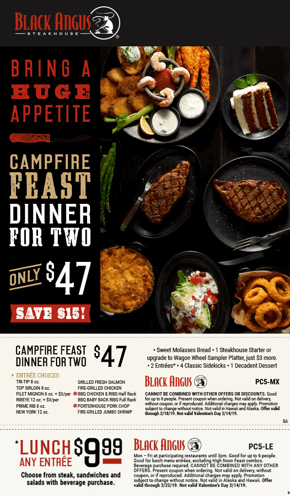Black Angus Coupon July 2019 $10 lunch entrees & more at Black Angus restaurants