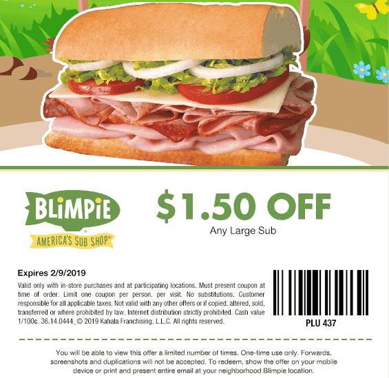 Blimpie Coupon August 2019 $1.50 off a large sub sandwich at Blimpie