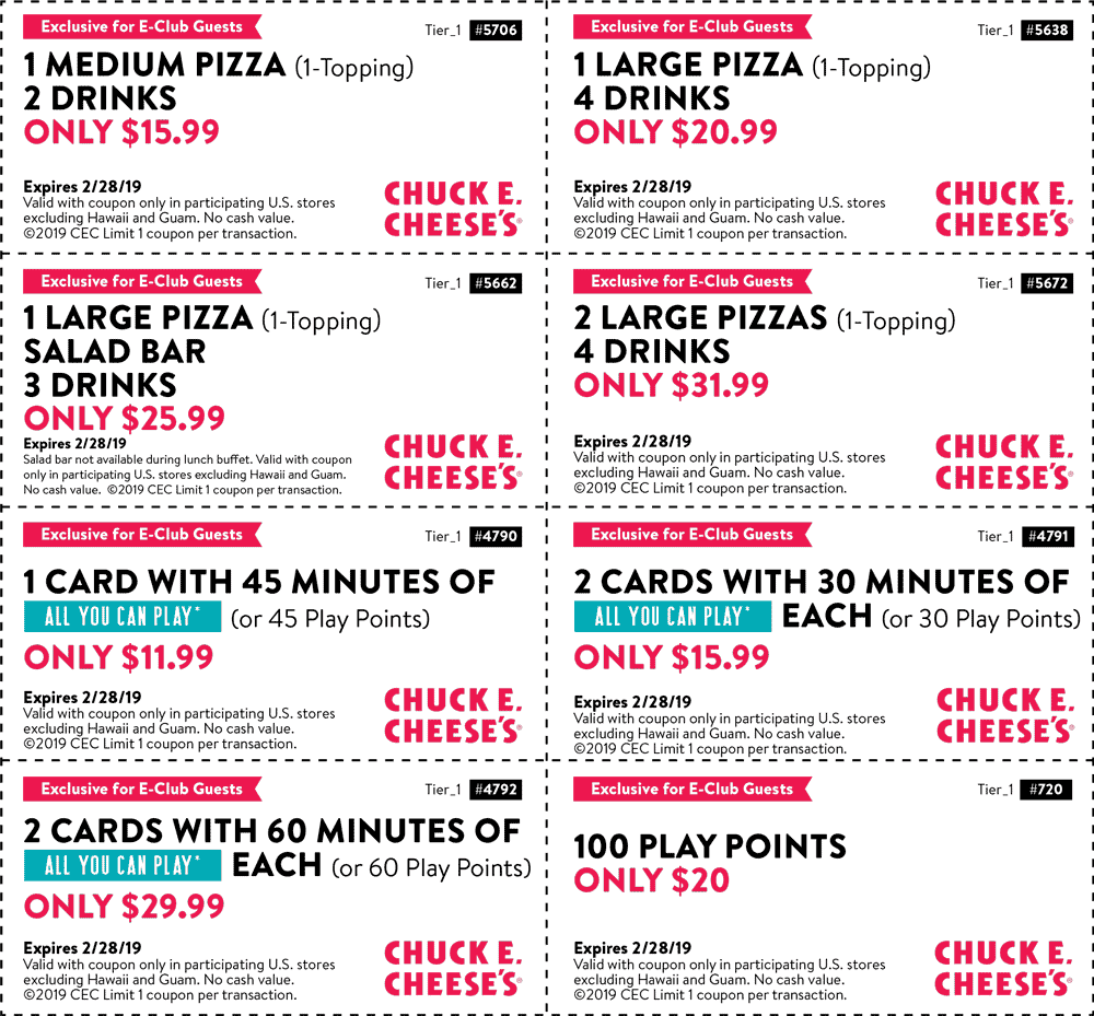 Chuck E. Cheese Coupon March 2019 100 play points for $20 & more at Chuck E. Cheese pizza