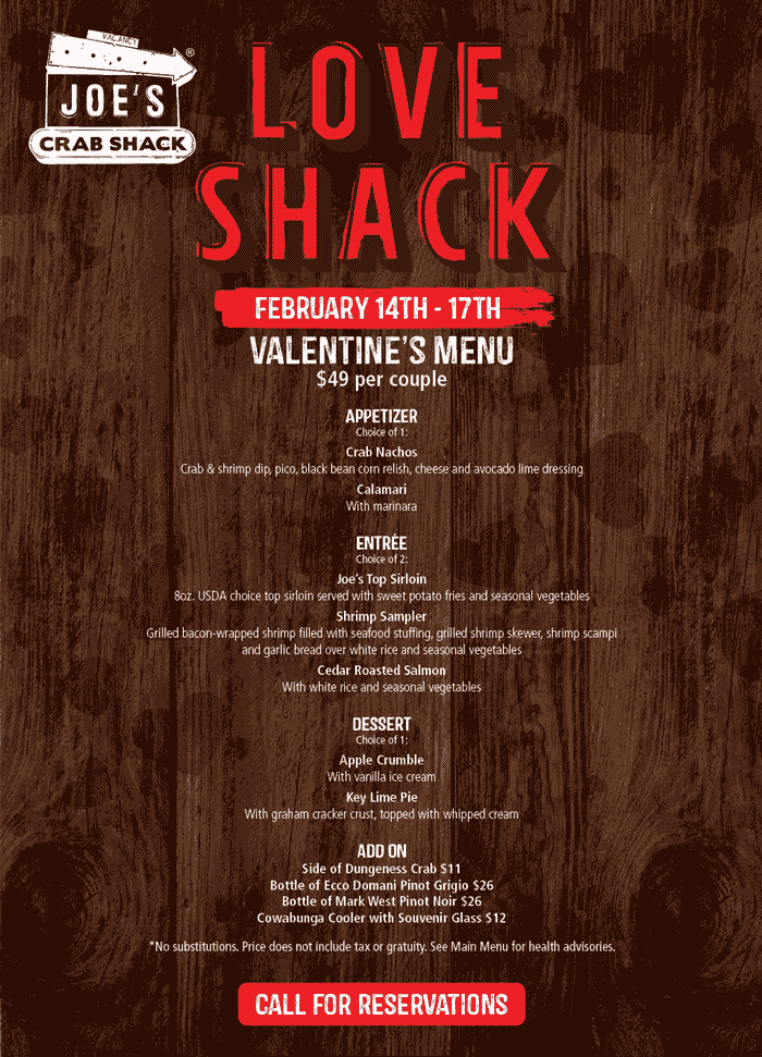 Joes Crab Shack Coupon August 2019 $49 per couple Valentines week at Joes Crab Shack