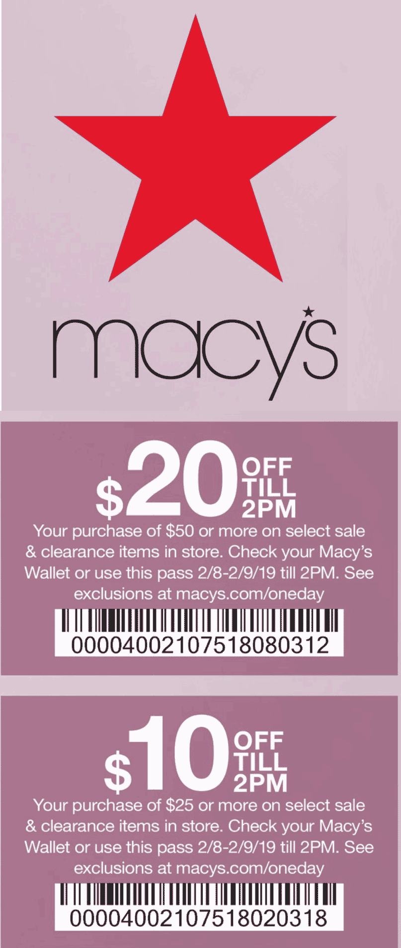 Macys Coupon July 2019 $10 off $25 & more til 2pm at Macys