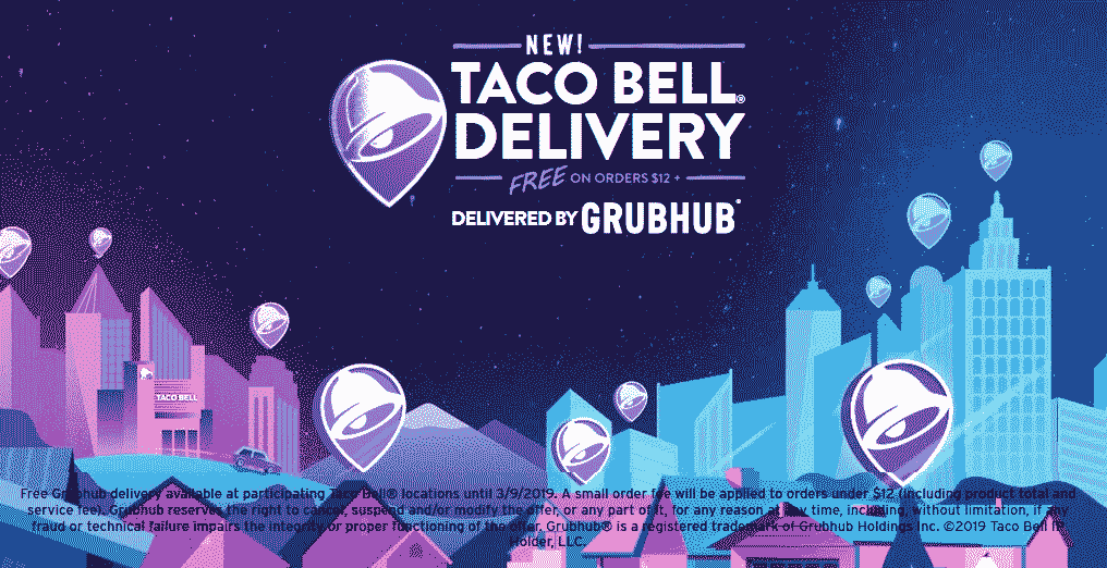 Taco Bell Coupon October 2019 Free delivery on $12 at various Taco Bell restaurants