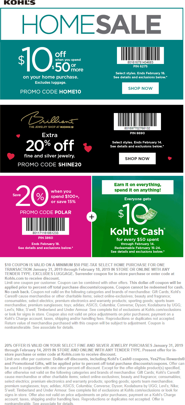 Kohls Coupon January 2020 15-20% off & more at Kohls, or online via promo code POLAR