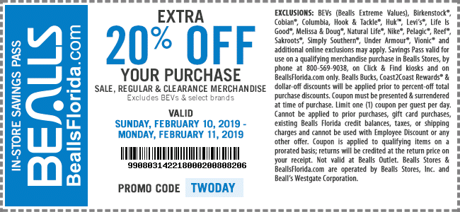 Bealls Coupon May 2019 20% off at Bealls, or online via promo code TWODAY