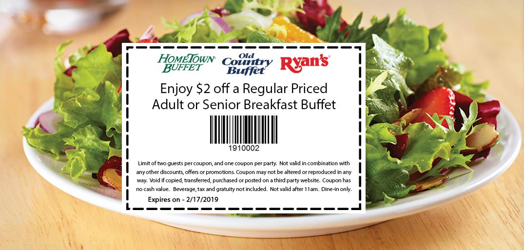 Hometown Buffet Coupon March 2019 $2 off breakfast buffet at HomeTown Buffet, Ryans & Old Country Buffet