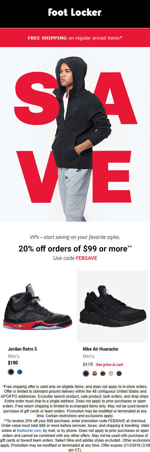 Foot Locker Coupon July 2019 20% off $99 online at Foot Locker via promo code FEBSAVE