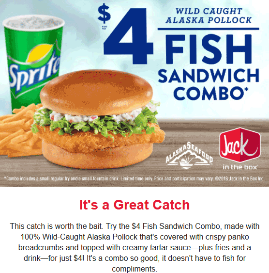 Jack in the Box Coupon April 2019 $4 fish sandwich combo meal at Jack in the Box