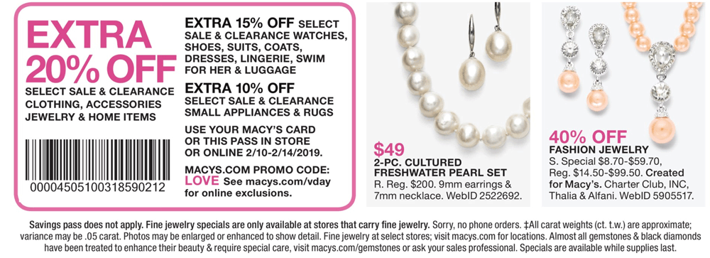 Macys Coupon November 2019 Extra 20% off at Macys, or online via promo code LOVE