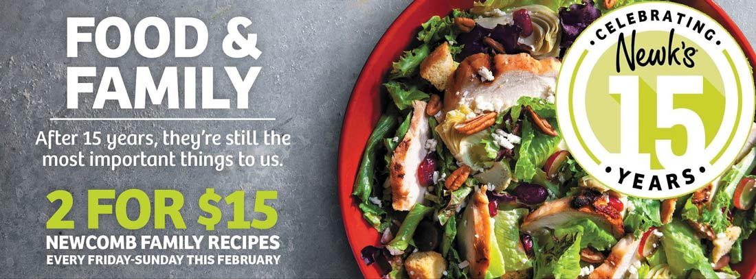 Newks Coupon November 2019 2 for $15 weekends at Newks restaurants