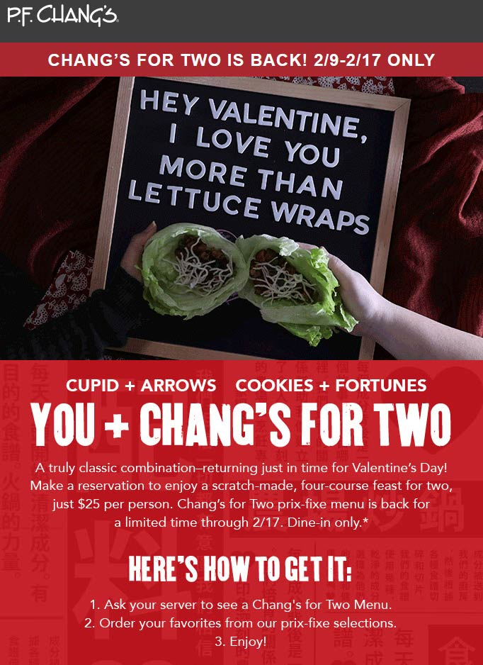 P.F. Changs Coupon May 2019 4-course feast for two = $50 at P.F. Changs restaurants