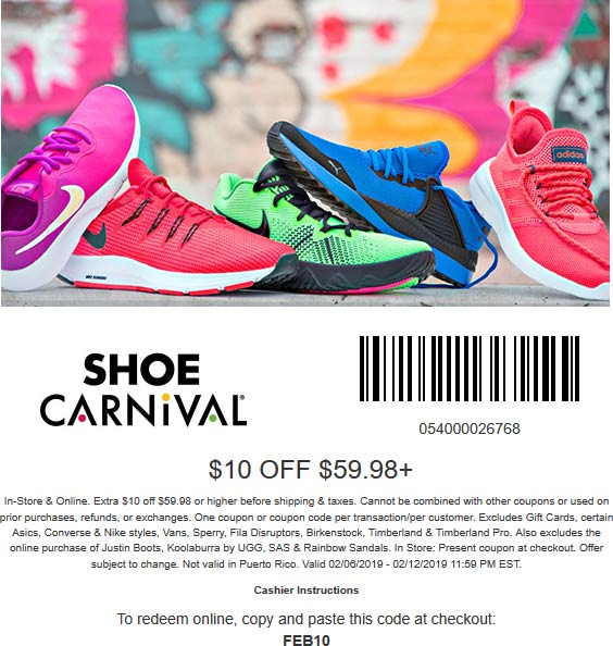 ShoeCarnival.com Promo Coupon $10 off $60 at Shoe Carnvial, or 15% online no code needed
