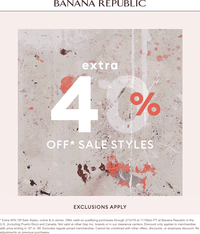 Banana Republic Coupon June 2019 Extra 40% off sale items at Banana Republic, ditto online