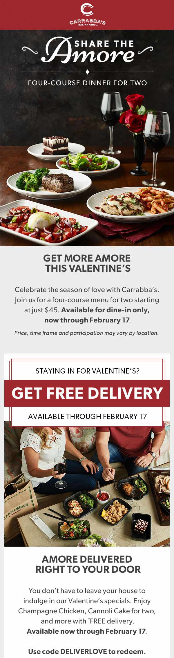 Carrabbas Coupon October 2019 4-course meal for two = $45 at Carrabbas restaurants