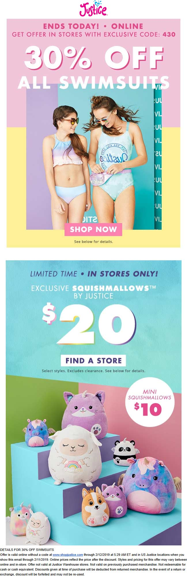 Justice Coupon July 2019 30% off swimsuits today at Justice, ditto online
