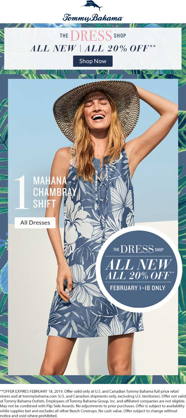 Tommy Bahama Coupon November 2019 20% off dresses at Tommy Bahama, ditto online