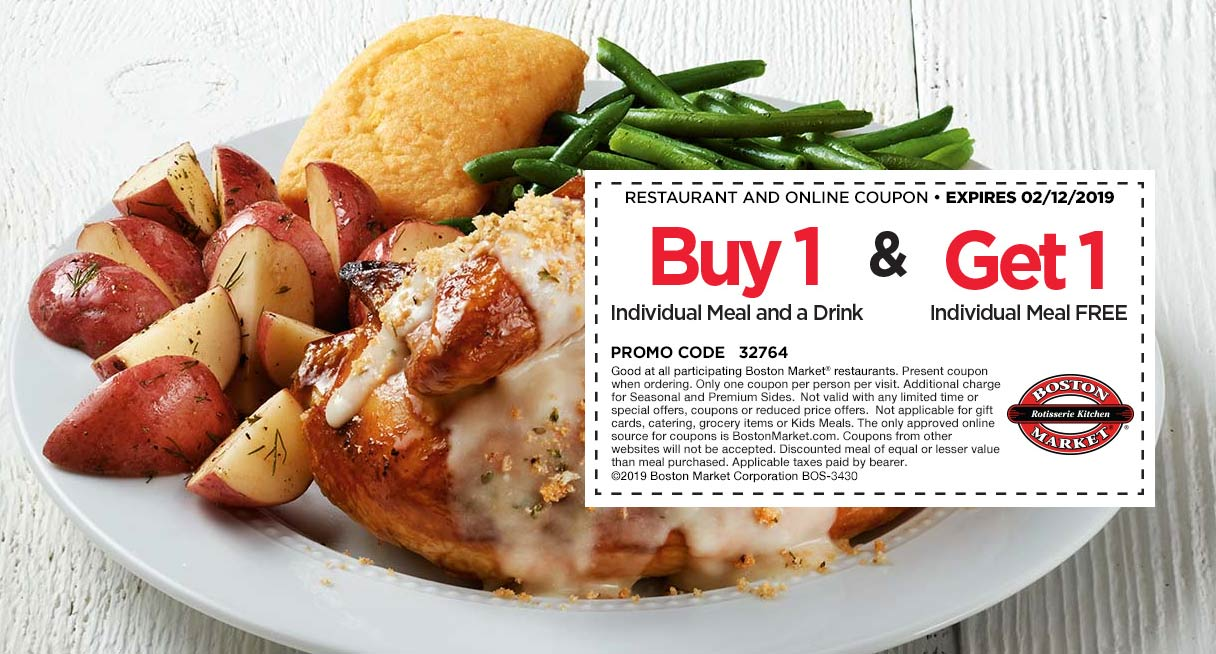 Boston Market Coupon September 2019 Second meal free today at Boston Market