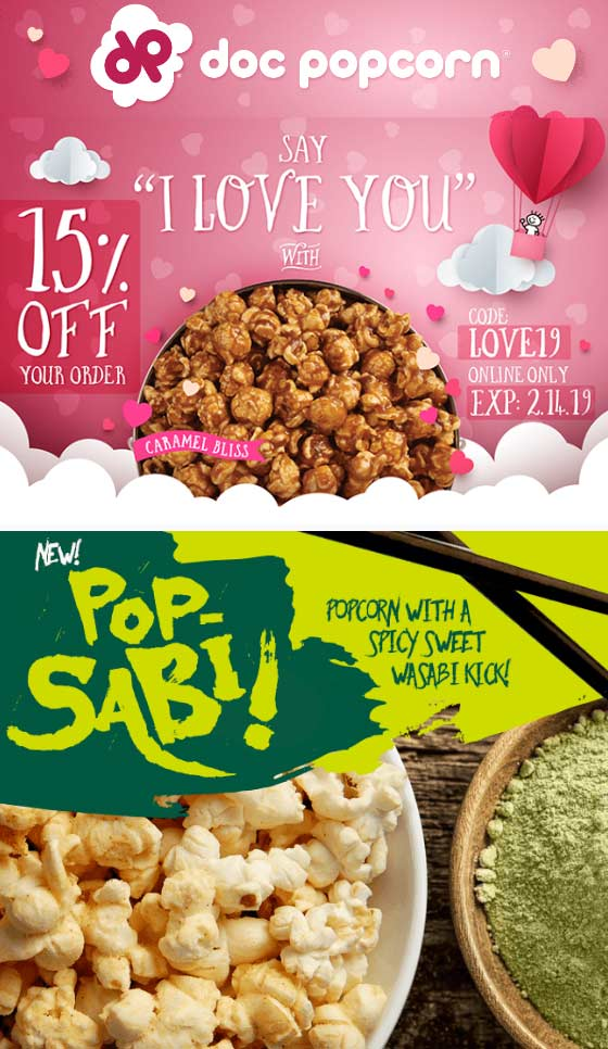 Doc Popcorn Coupon September 2019 15% off at Doc Popcorn via promo code LOVE19