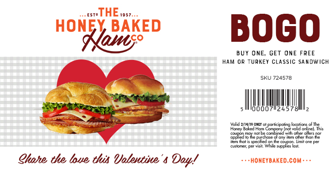 HoneyBaked Coupon March 2019 Second ham or turkey sandwich free Thursday at Honeybaked Ham restaurants