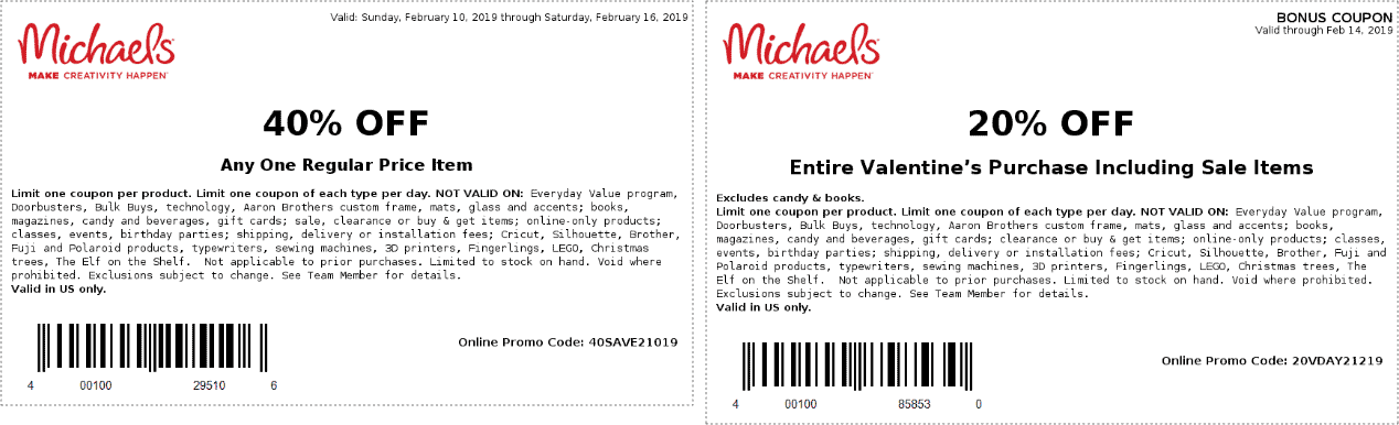 Michaels Coupon March 2019 40% off a single item at Michaels, or online via promo code 40SAVE2019