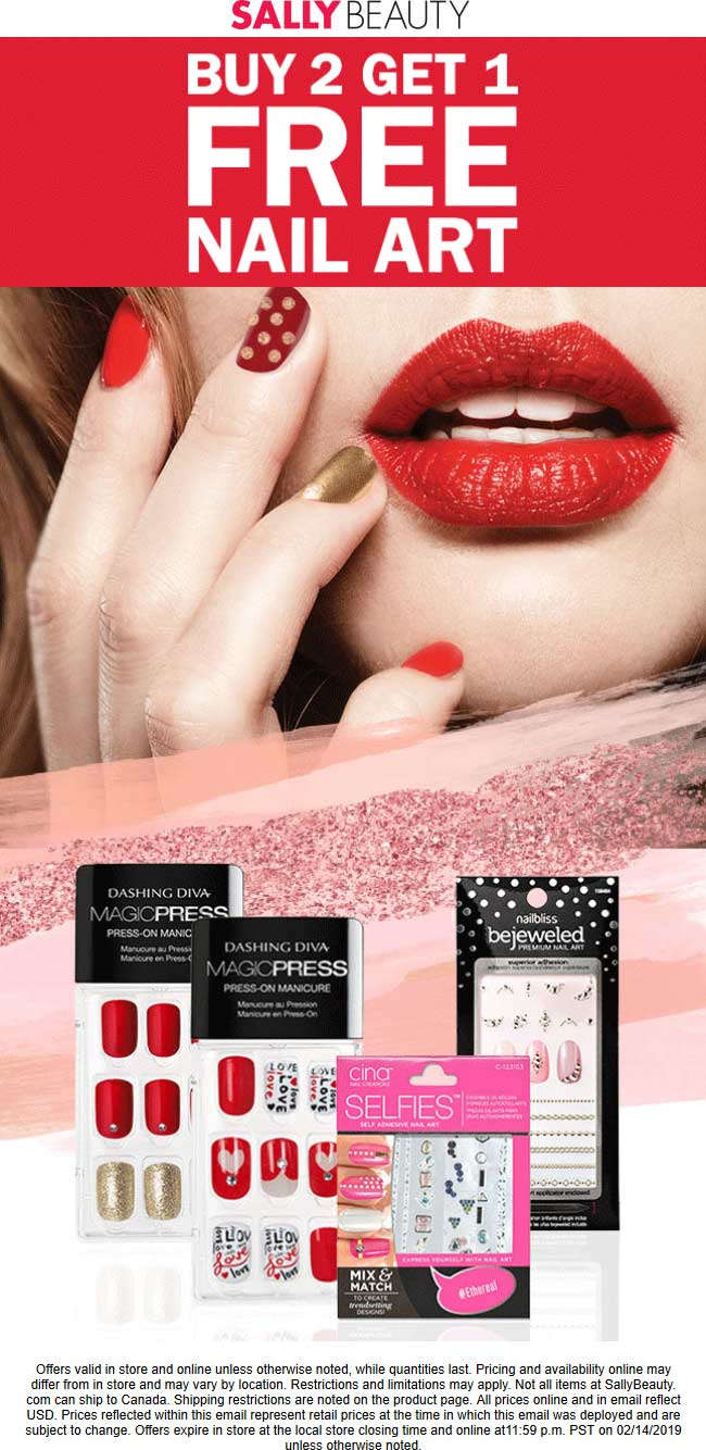 Sally Beauty Coupon May 2019 3rd nail art free at Sally Beauty, ditto online
