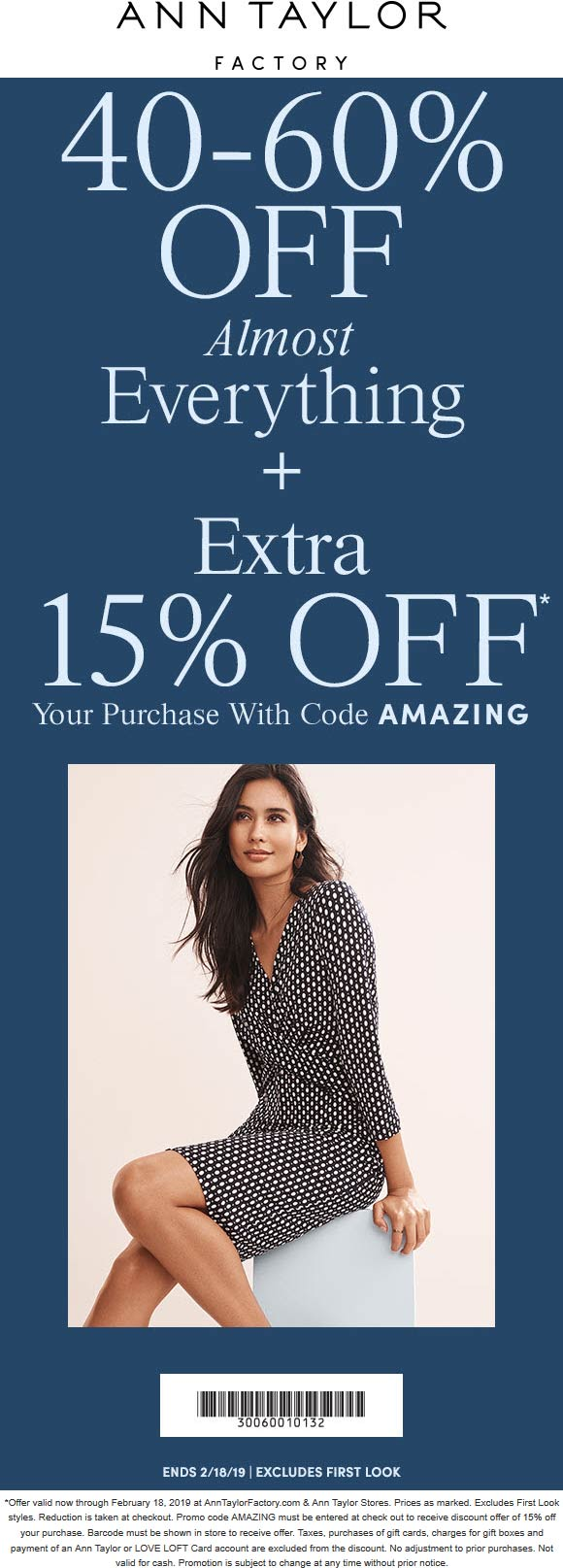 Ann Taylor Factory Coupon August 2019 40-75% off everything at Ann Taylor Factory, or online via promo code AMAZING