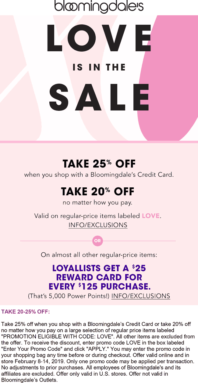 Bloomingdales Coupon May 2019 20% off at Bloomingdales, or online via promo code LOVE