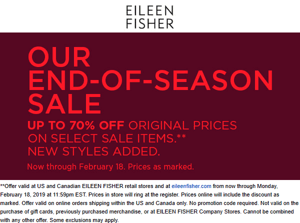 Eileen Fisher Coupon October 2019 70% off sale going on at Eileen Fisher, ditto online