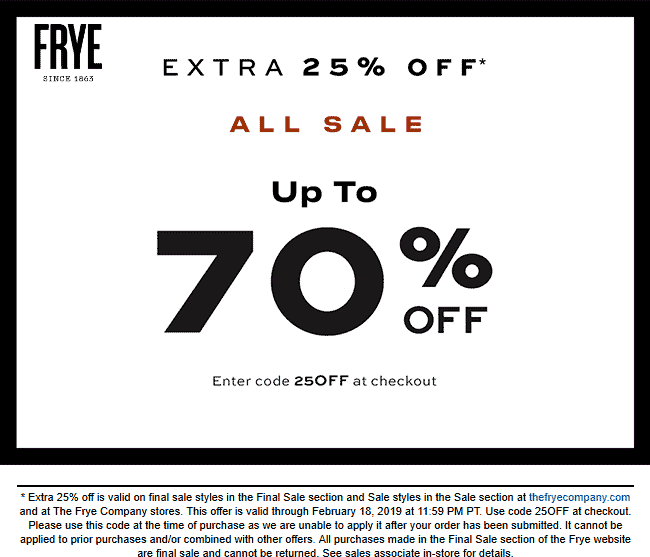 Frye Coupon September 2019 Extra 25% off sale items at Frye, or online via promo code 25OFF