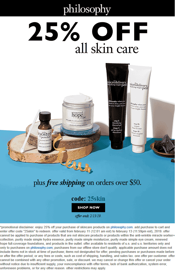 Philosophy Coupon November 2019 25% off all skin care today online at Philosophy via promo code 25skin