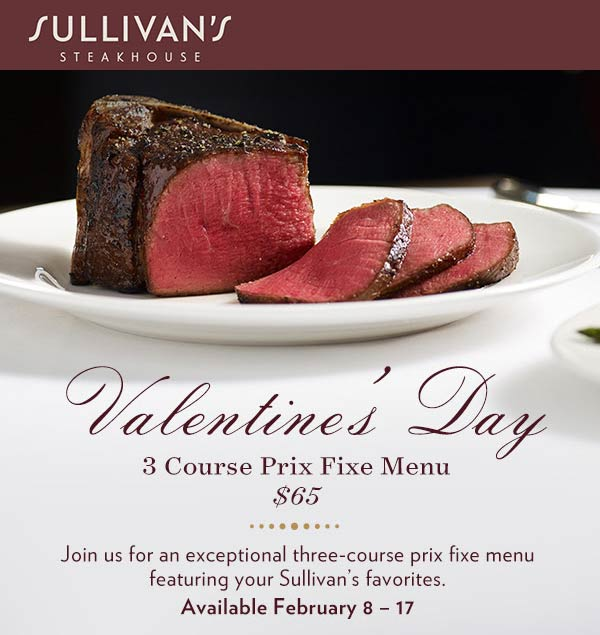 Sullivans Coupon May 2019 3-course prix fixe menu for $65 at Sullivans Steakhouse
