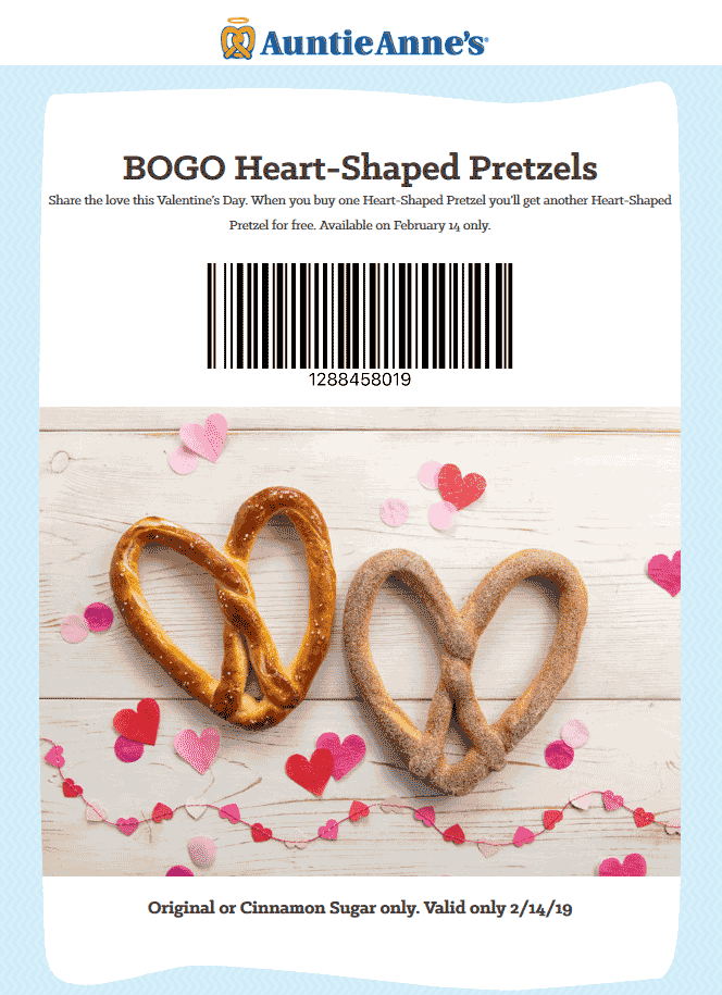 Auntie Annes Coupon July 2019 Second heart pretzel free today at Auntie Annes