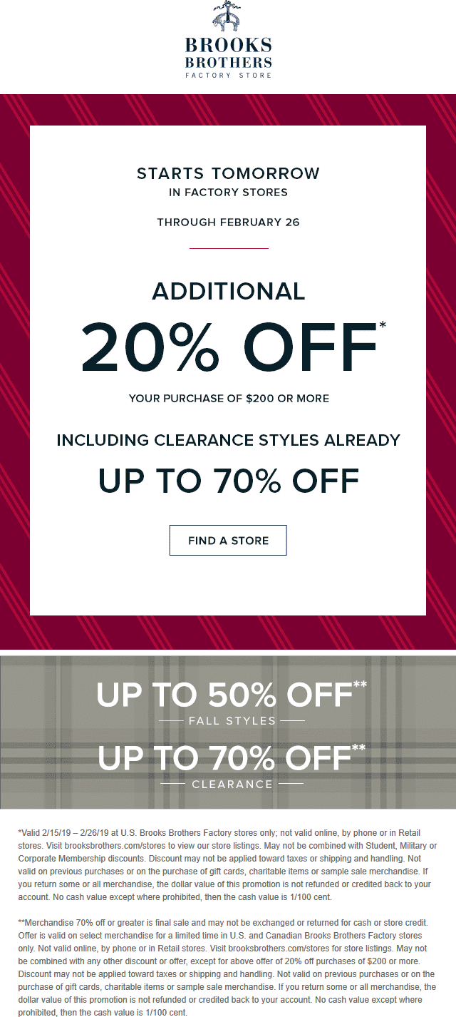 Brooks Brothers Factory Coupon May 2019 Extra 20% off $200 at Brooks Brothers Factory