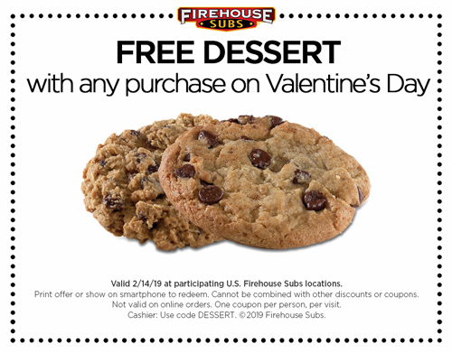 Firehouse Subs Coupon September 2019 Free dessert with your order today at Firehouse Subs